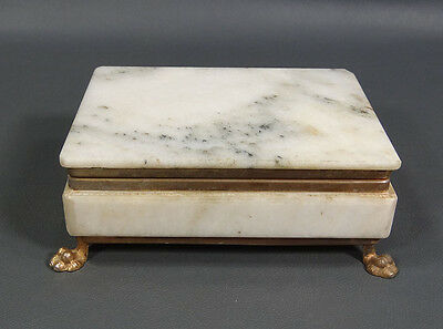 Art Deco Italian Carved Marble Framed Jewelry Trinket Box Chest Casket Lion Paws