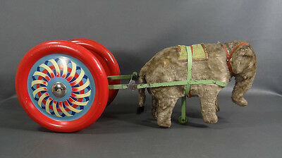 Antique German Papier-Mache Elephant Wheels Pull Along Cart Bell Lihto Tin Toy