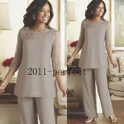 Mother of the Bride Pant Suits 3/4 Sleeve Beaded Plus Size Evening Party Dresses