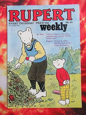Rupert Weekly Comic. 10 August 1983. Unsold Newsagent Stock. Unread. Nr Mint