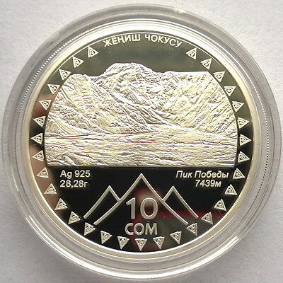 Kyrgyzstan 2011 Pobeda Peak Events 10 Som Silver Coin,Proof