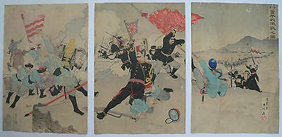 1895 Japanese Original Old Antiques Woodblock Print Triptych Of Sino War