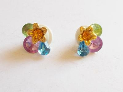 Vintage 1980's Colourful Lucite Crystal Gold Tone Floral Pierced Earrings