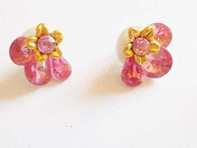 Vintage 1980's Pink Faceted Lucite Crystal Gold Tone Floral Pierced Earrings