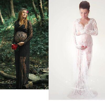 Women Lace Sheer Maternity Dresses Gown Photography Props Photo Pregnant Shoot