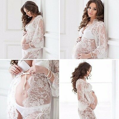 Women Lace Sheer Maternity Dresses Gown Photography Props Pregnant Photo Shoot