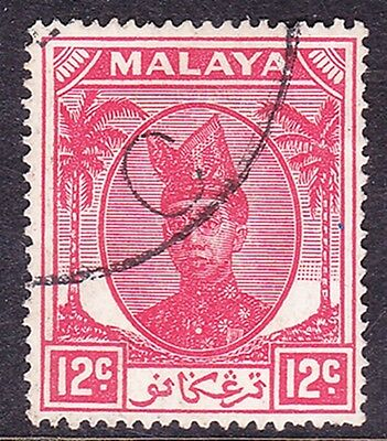 MALAYSIA TRENGGANU 1949 12 Cents Scarlet SG76 Fine Used