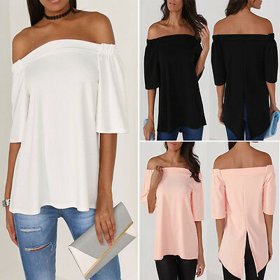 US Women's Off The Shoulder Casual Loose Short Sleeve Blouse T Shirt Tops Summer