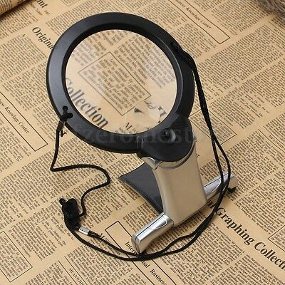 2.5x Large Magnifying Glass With Light LED Lamp Magnifier Foldable Stand Table