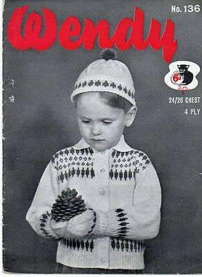 "Vintage Knitting Pattern for Child's Jacket/Hat/Mitts Fair Isle 4 Ply 24-26"" 136"