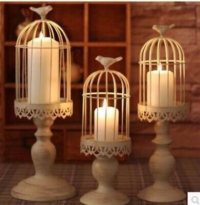 1Set 3in1 HQ White Cage Shape Candle Holder Wedding Décor