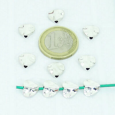 50 Abalorios Corazones 10mm T137A  Plata Tibetana Faceted Beads Perline Argento