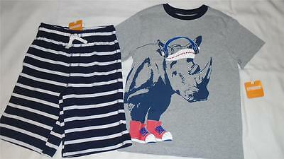 NEW Boys Size 5-6 Gymboree Outfit Sports Rhino Shirt & Soft Striped Shorts NWT