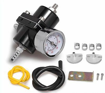 "Fuel Pressure Regulator with Gas Hose Kit 0-140 PSI 3/8"" NPT - Black for Racing"