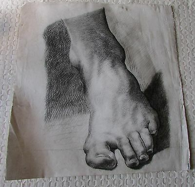 STUNNING ORIGINAL ANTIQUE FRENCH PENCIL STUDY OF FOOT/ANKLE EARLY 20thC ART