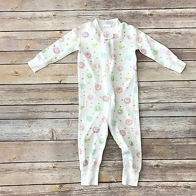 HANNA ANDERSSON Girls Sz 70 Fits 9-18m White Footless Zippered Sleeper Pajamas