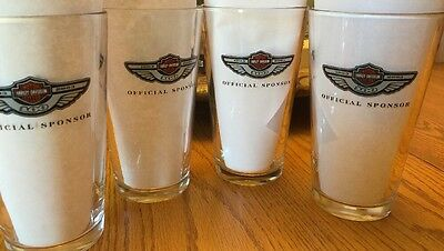 Set of 4 HARLEY-DAVIDSON & Miller Lite 100th Anniversary Collectible Glasses NEW