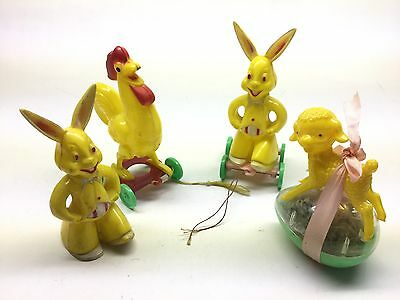 4 Vintage Rosbro Hard Plastic Easter Candy Containers