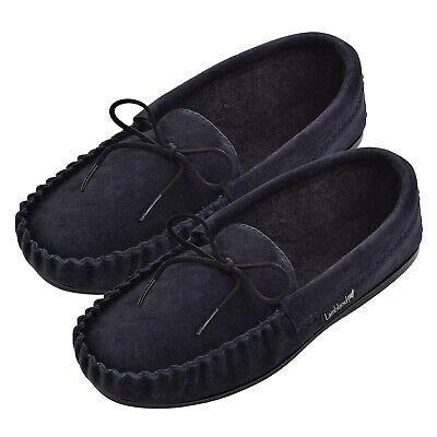 5512e05ec3e Lambland Ladies Genuine Sheepskin Suede Moccasin Slippers with Microfibre  Lining
