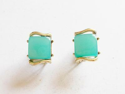 VINTAGE 1940's CORO TEAL BLUE GREEN THERMOSET LUCITE GOLD TONE EARRINGS
