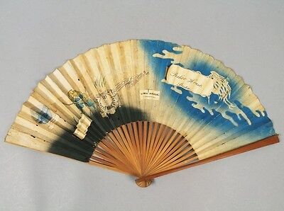 19c Bamboo Block Printed Japan Fan w Hotel Labels American House Parker House
