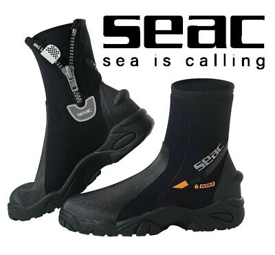 SEAC Pro HD 6mm Dive Boots Booties - Super Stretch Zipped Hard Heavy Duty Sole