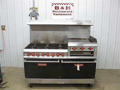 "Vulcan 6 Burner Range w/ Raised 24"" Griddle Gas Grill, Double Oven, Broiler 260L"