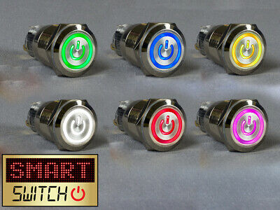 SmartSwitch 22mm 12/24V Chrome Metal Momentary POWER ICON Illuminated LED Switch