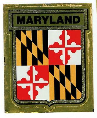State of MARYLAND ~ Vintage Gulf Oil Windshield State Flag Decal ~ FREE SHIPPING