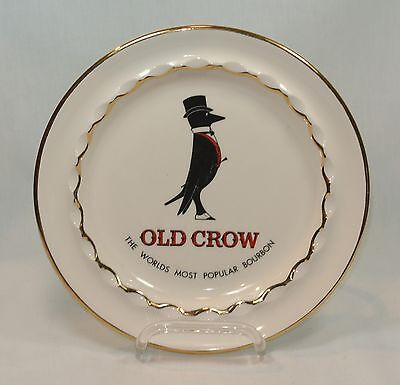 OLD CROW Bourbon Large Pottery Advertising ASHTRAY Jack Nadel Inc