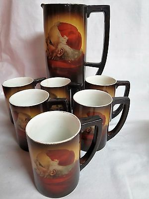 Warwick China Friar Monk Portrait Tankard Pitcher W/6 Cups