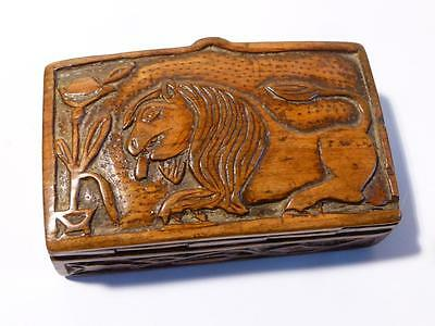 Antique 19thC Naive Hand Carved LION - FISH - FOLIAGE Wood Snuff Box