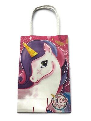COLOURED PARTY BAGS Paper Handled CHILDREN BIRTHDAY Pink Blue Green Yellow