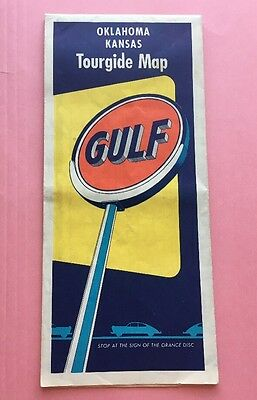 JB775 Vintage Oklahoma Kansas Tour guide Map Gulf Oil
