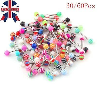 60 X Tongue Bars Surgical Steel Barbell Rings Mixed Ball Body Piercing Jewellery