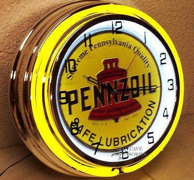 """18"""" PENNZOIL Safe Lubrication Sign Double Neon Clock Gas Station Oil Lube Grease"""