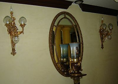 "Antique Pair of Gargoyle Gothic Revival Wall Sconces Lights Bronze Dore 32"" H."