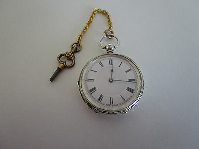SOLID SILVER FOB WATCH IN good WORKING ORDER