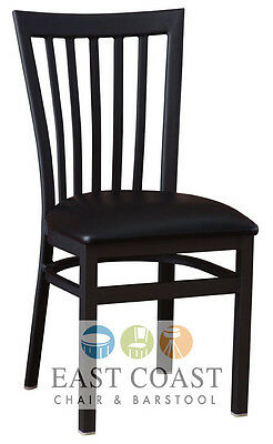 New Gladiator Full Vertical Back Metal Restaurant Chair with Black Vinyl Seat