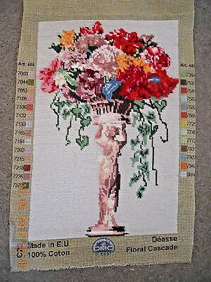 Vintage hand-stitched completed wool tapestry Floral Cascade by DMC