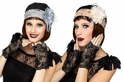 Adult Roaring 20s  Gatsby Flapper Lace Cloche Cap & Gloves Set Costume Accessory