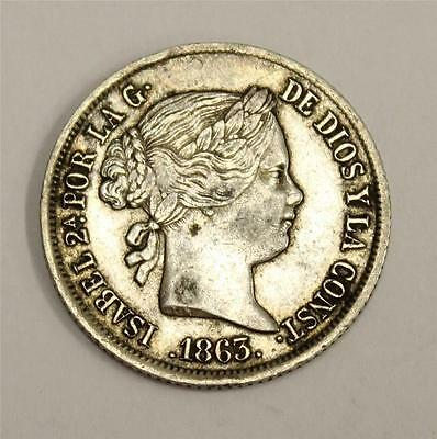 1863 Spain 4 Reales Coin 6 pointed star mint mark  EF40 original authentic