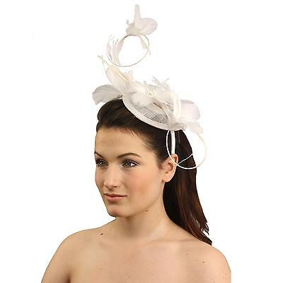 Handmade Elegant Feather Floral Headband Fascinator Millinery Cocktail Hat White