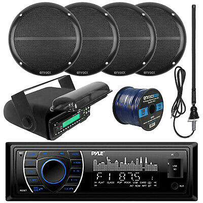 "Pyle Bluetooth USB Marine Radio, 6.5""Speakers and Wiring, Antenna, Radio Housing"