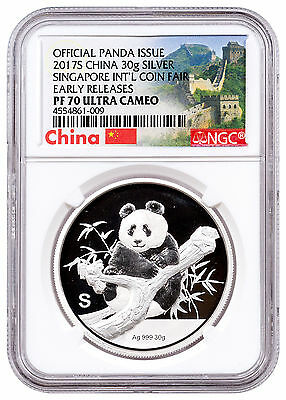 2017-S China 30 g Silver Singapore Show Panda NGC PF70 UC ER Great Wall SKU47367