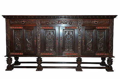 Antique French Tudor Sideboard, Buffet or Server, Oak, 1920's