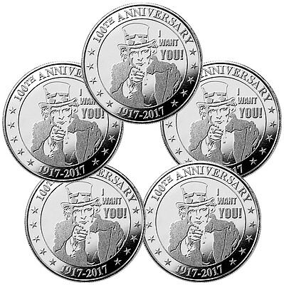 "Lot of 5 Uncle Sam ""I Want You"" 100th Anniversary 1 oz Silver Round SKU47544"
