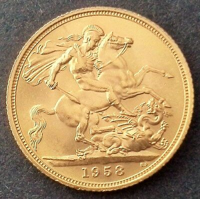 1958 Gold Full Sovereign - Queen Elizabeth II 60 Years Old Next Year