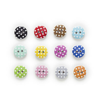 50pcs 2 Hole Dot Print Round Wood Buttons Decor Sewing Scrapbooking Home 15mm