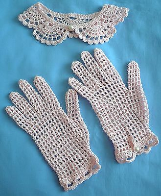Vintage Retro 1950's Gloves & Collar Crochet Lace Pink with Pearl Buttons NEW